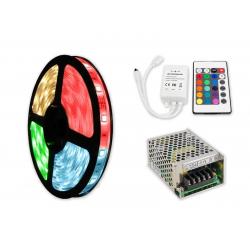 ZESTAW Taśma RGB 150 LED WODOODPORNA IP63 5m 36W  + Sterownik IR + Zasilacz modułowy 36W