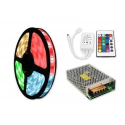 ZESTAW Taśma RGB 300 LED WODOODPORNA IP63 5m 72W  + Sterownik IR + Zasilacz modułowy 100W