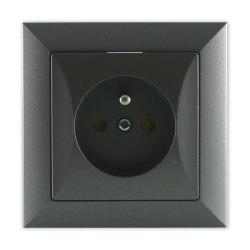 TIMEX OPAL Gniazdo pojedyncze z uziemieniem grafitowe GPt-16 Op GR