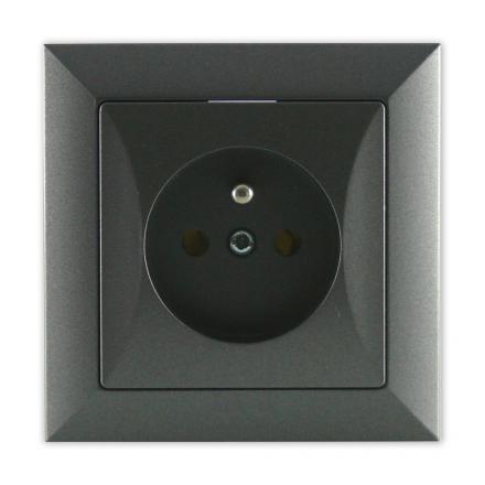 TIMEX OPAL Gniazdo pojedyncze uziemione w kolorze grafitowym