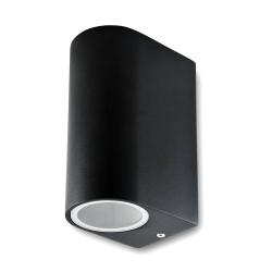 Lampa ogrodowa elewacyjna 2xGU10 góra-dół półokrągła czarna