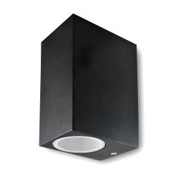 POLUX BOSTON Lampa ogrodowa elewacyjna 2xGU10 góra-dół prostokątna czarna SG37SQWB-2