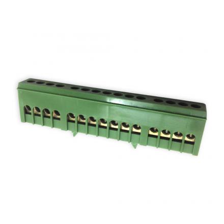 Elektro Mostek zerowy listwa zaciskowa złączka obudowana 15P na szynę zielony