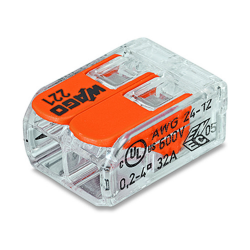WAGO Szybkozłączka uniwersalna 2x0,2-4mm2 transparentna 221-412