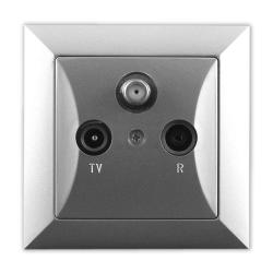TIMEX OPAL Gniazdo antenowe RTV-SAT satelitarne końcowe srebrne połysk GAPS Op/K SR