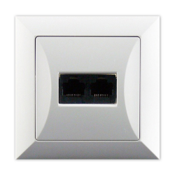 TIMEX OPAL Gniazdo komputerowe podwójne 2xRJ45 2x8pin zacisk krone LSA+ białe GTP-22 Op BI