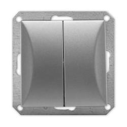 TIMEX OPAL Wyłącznik łącznik podwójny MODUŁ DO RAMKI w kolorze srebrnym