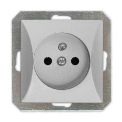 TIMEX OPAL Gniazdo pojedyncze uziemione MODUŁ DO RAMKI w kolorze srebrnym