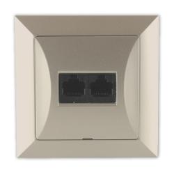 TIMEX OPAL Gniazdo komputerowe podwójne 2xRJ45 2x8pin zacisk krone LSA+ satyna GTP-22 Op PI