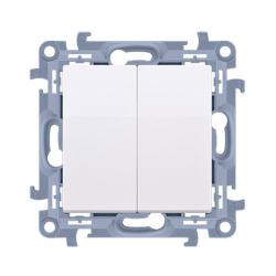 SIMON 10 Wyłącznik łącznik podwójny świecznikowy do ramki biały CW5.01/11