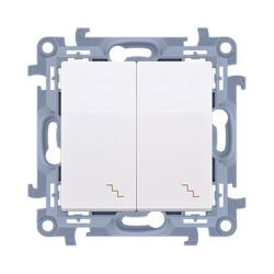 SIMON 10 Wyłącznik łącznik podwójny schodowy do ramki biały CW6/2.01/11