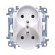 SIMON 10 Gniazdo podwójne z uziemieniem do ramki białe CGZ2M.01/11