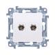 SIMON 10 Gniazdo antenowe podwójne typ F do ramki białe CASF2.01/11