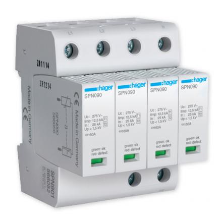 HAGER Ogranicznik ochronnik przepięć T1+T2 MOV 4P sieć TN-S SPN901