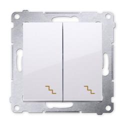 SIMON 54 Wyłącznik łącznik podwójny schodowy do ramki biały DW6/2.01/11