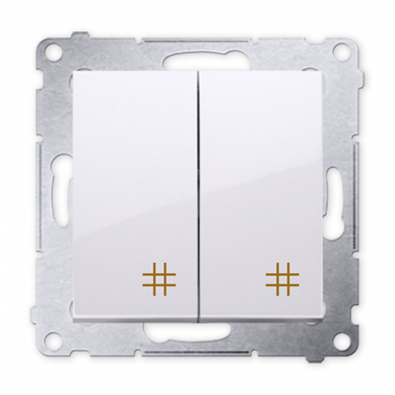 SIMON 54 Wyłącznik łącznik podwójny krzyżowy do ramki biały DW7/2.01/11