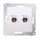 SIMON 54 Gniazdo antenowe podwójne typ F do ramki białe DASF2.01/11