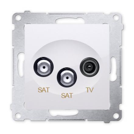 SIMON 54 Gniazdo antenowe RTV-SAT-SAT podwójne do ramki białe DASK2.01/11