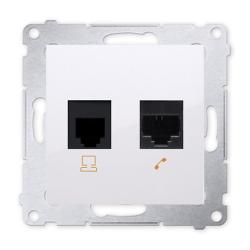 SIMON 54 Gniazdo komputerowo-telefoniczne RJ45+RJ11 do ramki białe D5T.01/11