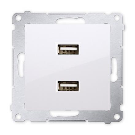 SIMON 54 Gniazdo ładowarka USB podwójna biała DC2USB.01/11