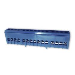 PLUS Zacisk przyłączeniowy na szynę mostek izolowany 15-polowy 7x16mm² niebieski