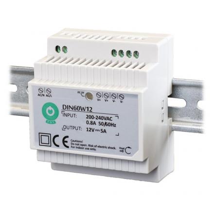 POS Zasilacz na szynę DIN 5A/60W 12V LED CCTV RTV