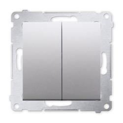 SIMON 54 Wyłącznik łącznik podwójny świecznikowy do ramki srebrny mat DW5.01/43