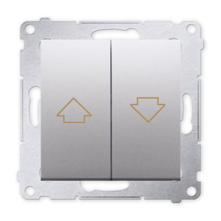 SIMON 54 Wyłącznik łącznik żaluzjowy zwierny do ramki srebrny mat DZP1.01/43