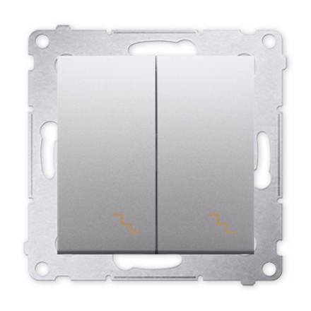 SIMON 54 Wyłącznik łącznik podwójny schodowy do ramki srebrny mat DW6/2.01/43