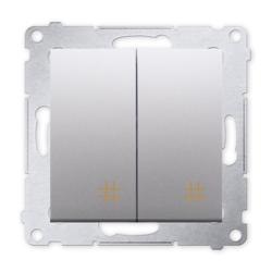 SIMON 54 Wyłącznik łącznik podwójny krzyżowy do ramki srebrny mat DW7/2.01/43