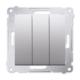 SIMON 54 Wyłącznik łącznik potrójny do ramki srebrny mat DW31.01/43