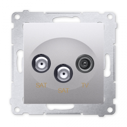 SIMON 54 Gniazdo antenowe RTV-SAT-SAT podwójne do ramki srebrny mat DASK2.01/43