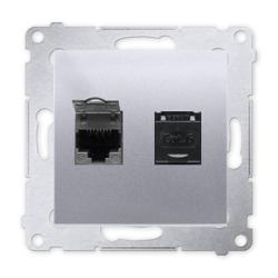 SIMON 54 Gniazdo komputerowe podwójne RJ45 do ramki srebrny mat D62.01/43