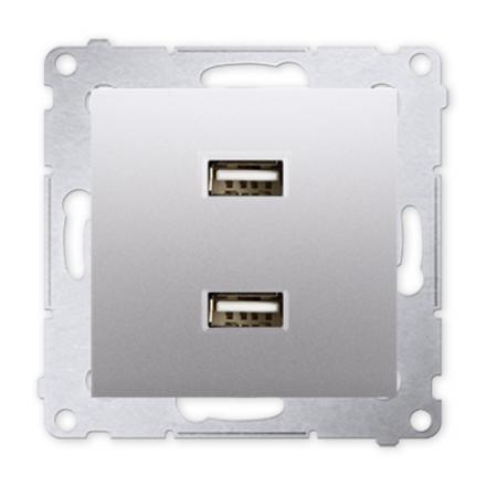 SIMON 54 Gniazdo ładowarka USB podwójna do ramki srebrny mat DC2USB.01/43