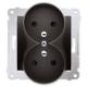 SIMON 54 Gniazdo podwójne z uziemieniem do ramki antracyt DGZ2MZ.01/48