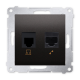 SIMON 54 Gniazdo komputerowo-telefoniczne RJ45+RJ11 do ramki antracyt D5T.01/48