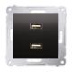 SIMON 54 Gniazdo ładowarka USB podwójna do ramki antracyt DC2USB.01/48