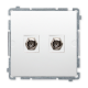SIMON BASIC Gniazdo antenowe podwójne typ F do ramki białe BMAF2.01/11