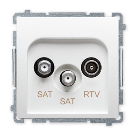 SIMON BASIC Gniazdo antenowe RTV-SAT-SAT podwójne do ramki białe BMZAR+SAT3.1-P2.01/11