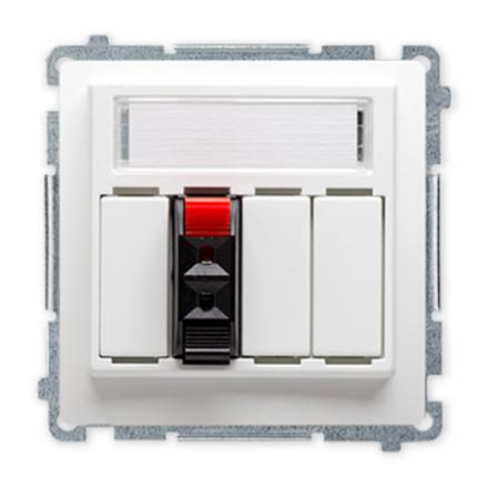 SIMON BASIC Gniazdo głośnikowe 1-krotne z polem opisowym do ramki białe BMGL31.01/11