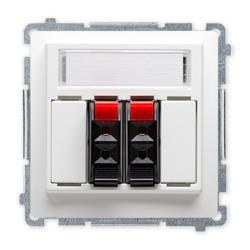 SIMON BASIC Gniazdo głośnikowe 2-krotne z polem opisowym do ramki białe BMGL3.01/11