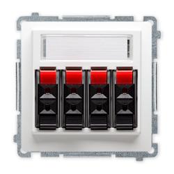 SIMON BASIC Gniazdo głośnikowe 4-krotne z polem opisowym do ramki białe BMGL34.01/11