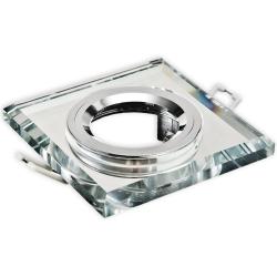 PLUS Oprawa oprawka halogenowa kwadratowa stała szkło z rantem clear