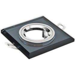 Oprawa oprawka halogenowa kwadratowa stała szkło z rantem czarna