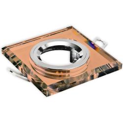 Oprawa oprawka halogenowa kwadratowa stała szkło z ranten brązowa