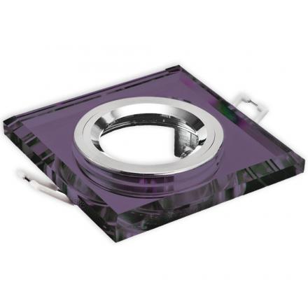 Oprawa oprawka halogenowa kwadratowa stała szkło z rantem fioletowa