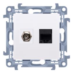 SIMON 10 Gniazdo antenowe typ F + gniazdo komputerowe RJ45 do ramki białe CASFRJ455.01/11