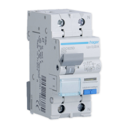 Hager Wyłącznik różnicowo-nadprądowy RCBO 2P B25A 0,03A typ AC ADC925D