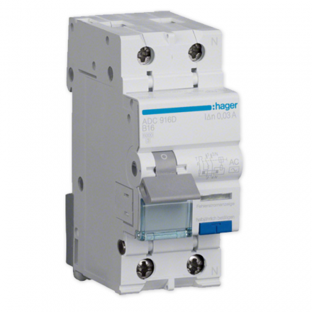 Hager Wyłącznik różnicowo-nadprądowy RCBO 2P B16A 0,03A typ AC ADC916D