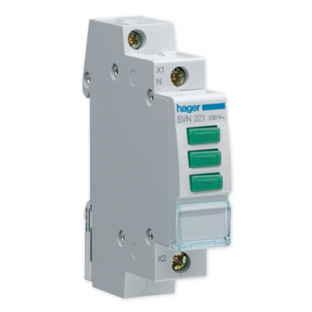 HAGER Lampka sygnalizacyjna LED 3x zielona 3F 230V SVN221